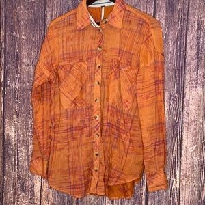 FREE PEOPLE shore vibes Cotton button up shirt S
